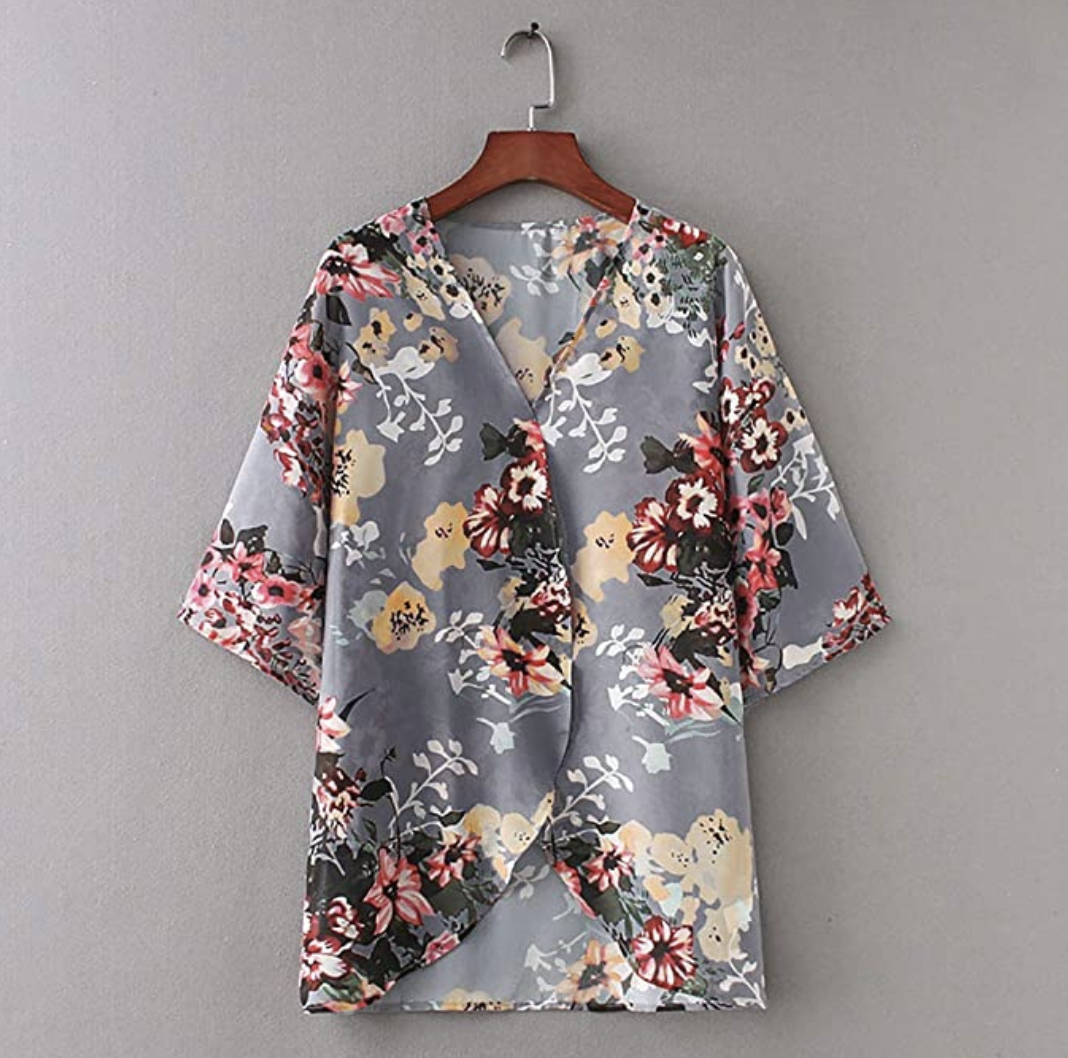 Amazon Fashion: Gray Floral Kimono