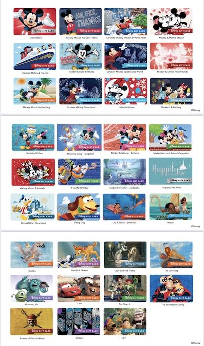 Disney Gift Card Designs